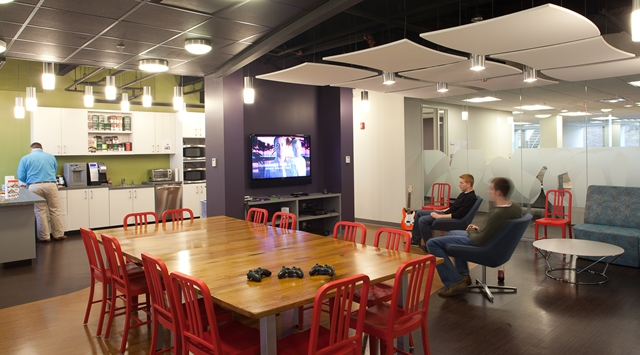 Game center in the space we designed for Verivo Software. Image © Neil Alexander for Visnick & Caulfield