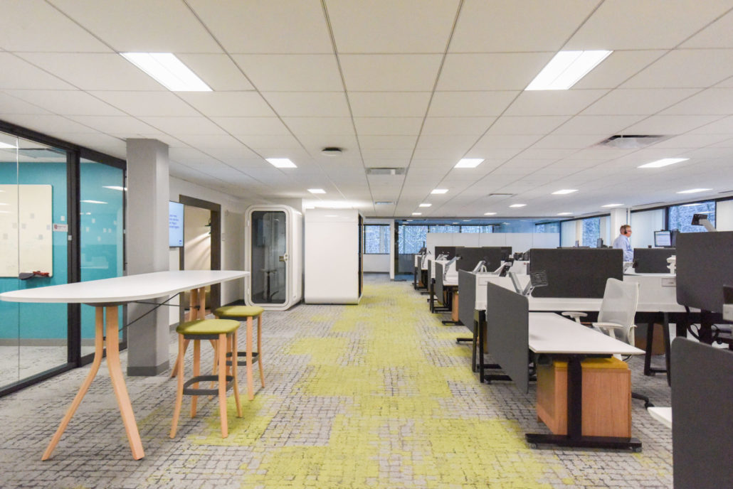 open offices and a variety of collaboration spaces