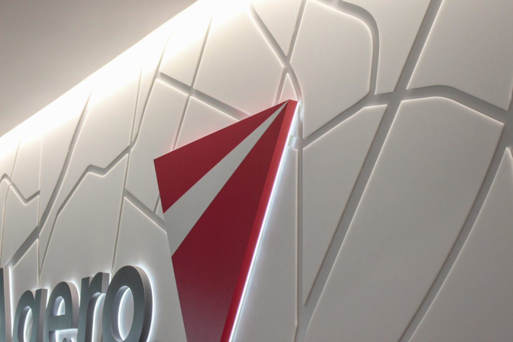 Agero logo in their reception space