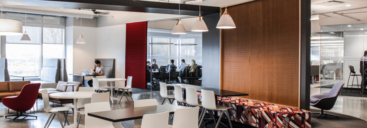 Agero cafe features mixed seating options and employee choice for meeting spaces