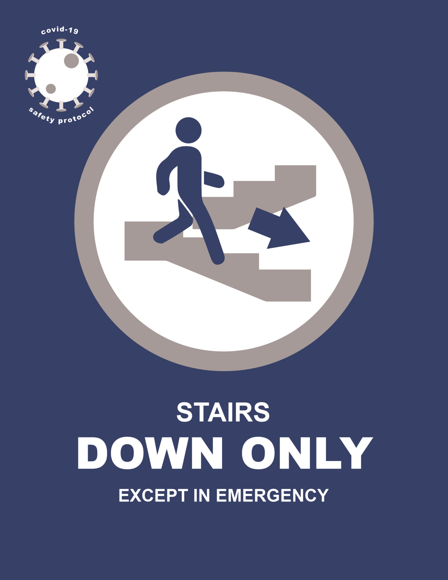 COVID-19 Signage For Stair Flow