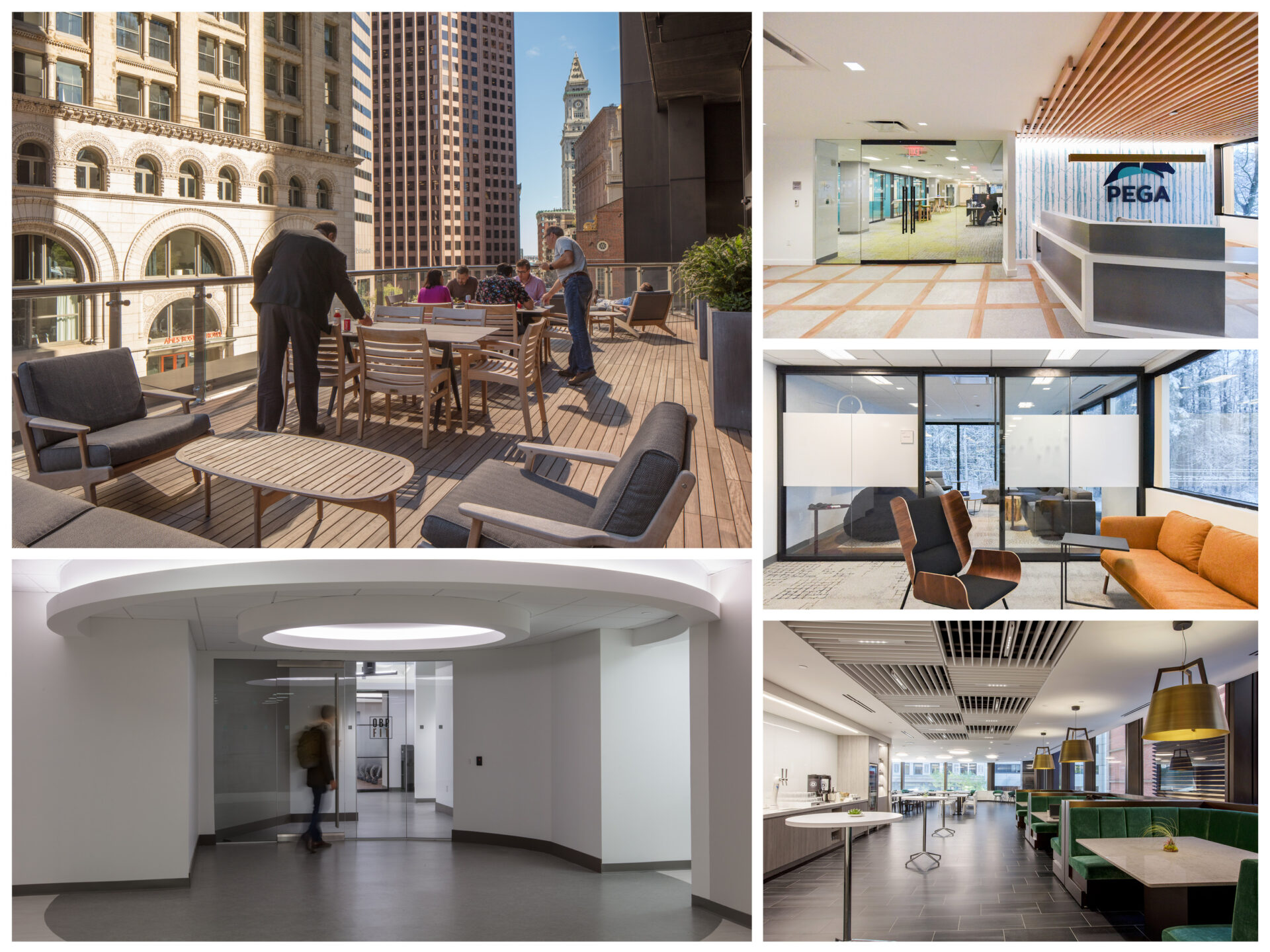 A collage of office spaces Cora has worked on